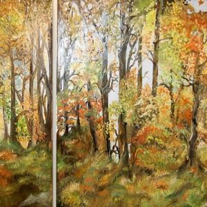 Herbstlandschaft | Ölgemälde 2019 von Gabriele Apfeld, 100x150x4cm, ein Teil möglich Prize 980,-€