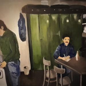 Die Arbeiter   Ölmalerei 2020, 60x50x2cm, Preis auf Anfrage