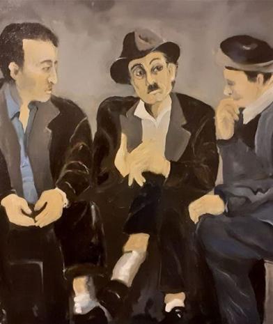 Ölmalerei Die Drei Gastarbeiter 2020 Artist Gabriele Apfeld Ausschnitt
